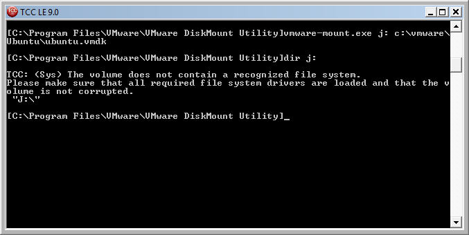 Failing to see files in an ext2 VMWare image